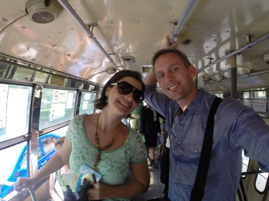 On the road--public buses in Bangkok